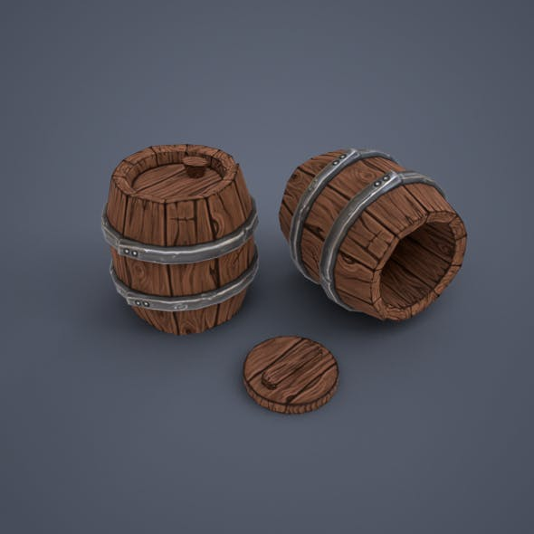 Wooden barrels (low poly) - 3DOcean Item for Sale