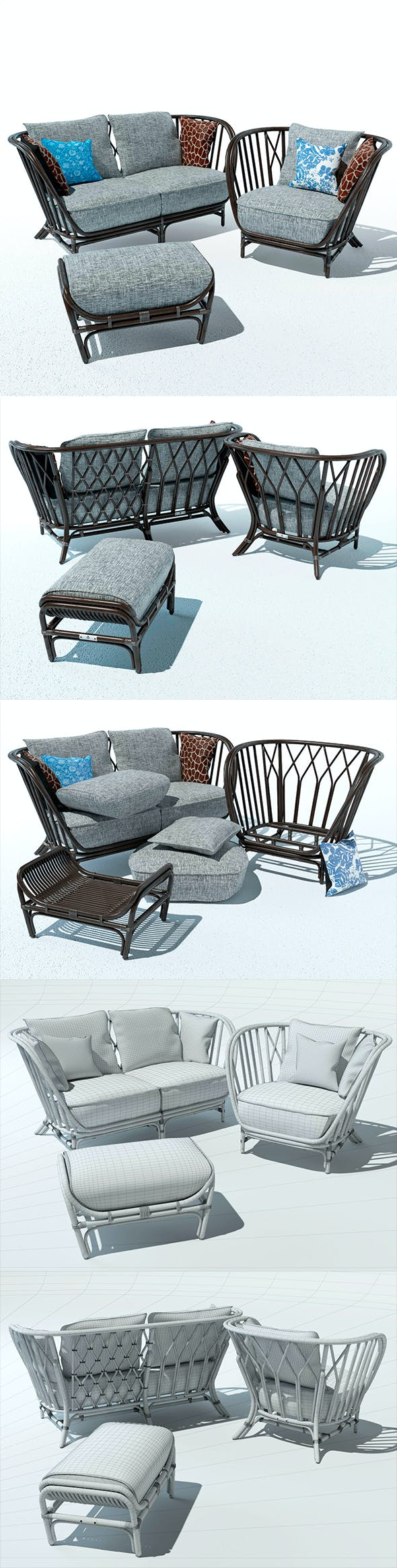 Furniture for the terrace. Kyoto collection - 3DOcean Item for Sale