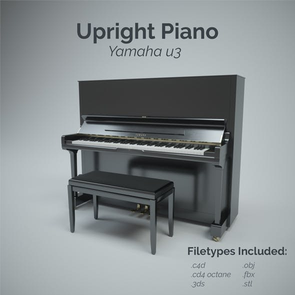 Upright Piano with Stool - 3DOcean Item for Sale