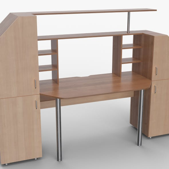 computer desk wall - 3DOcean Item for Sale