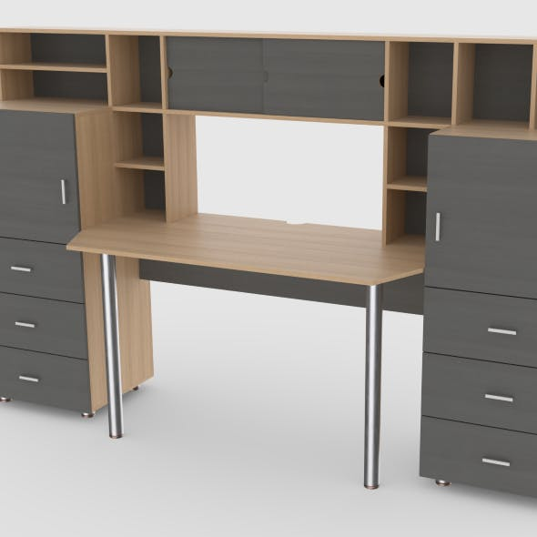 computer desk wall 3 - 3DOcean Item for Sale
