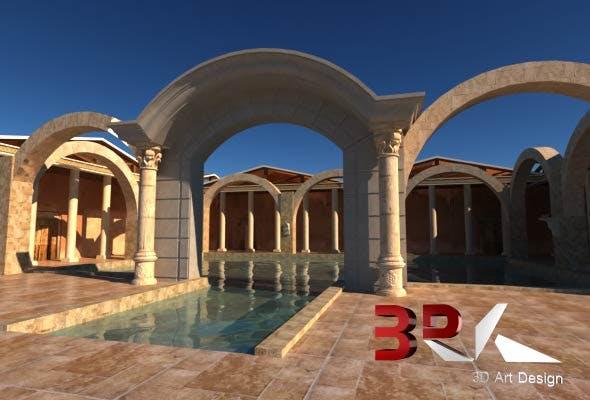 Ancient Roman Bath - 3DOcean Item for Sale