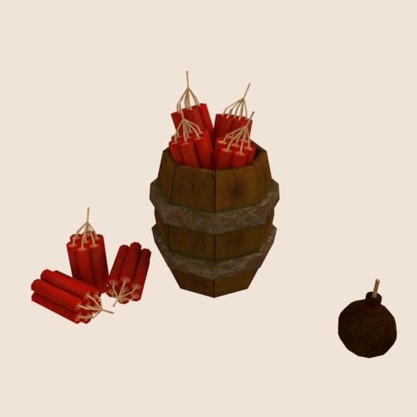 Barrel with dynamite and bomb - 3DOcean Item for Sale