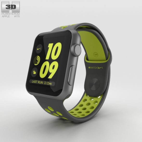Apple Watch Nike+ 42mm Space Gray Aluminum Case Black/Volt Nike Sport Band - 3DOcean Item for Sale