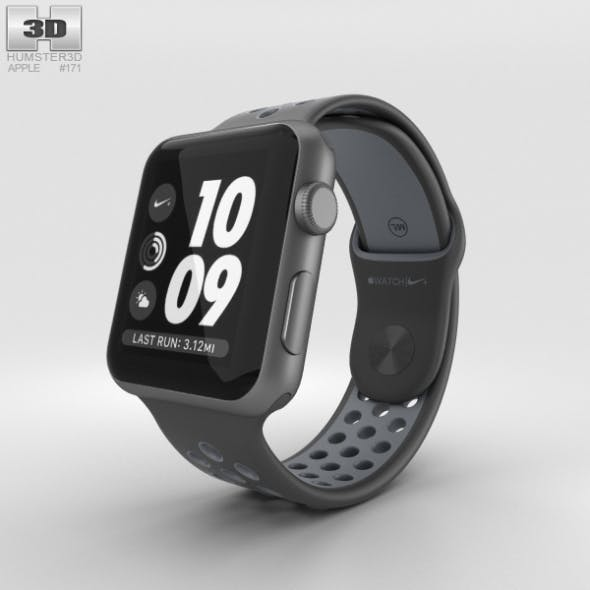 Apple Watch Nike+ 42mm Space Gray Aluminum Case Black/Cool Nike Sport Band - 3DOcean Item for Sale
