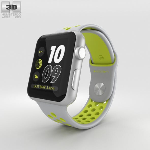 Apple Watch Nike+ 42mm Silver Aluminum Case Flat Silver/Volt Nike Sport Band - 3DOcean Item for Sale