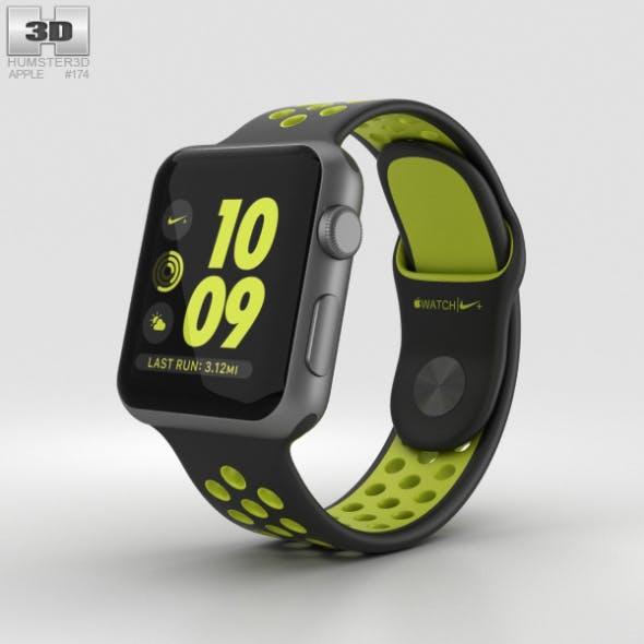 Apple Watch Nike+ 38mm Space Gray Aluminum Case Black/Volt Nike Sport Band - 3DOcean Item for Sale