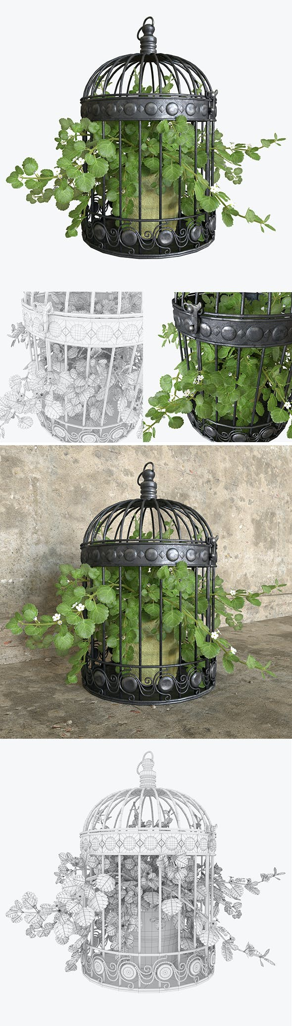 3d model ivy in a bird cage. - 3DOcean Item for Sale