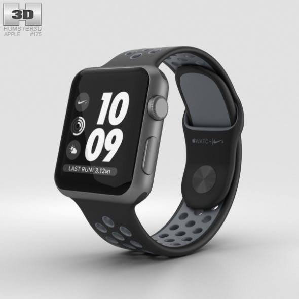 Apple Watch Nike+ 38mm Space Gray Aluminum Case Black/Cool Nike Sport Band - 3DOcean Item for Sale