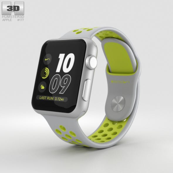 Apple Watch Nike+ 38mm Silver Aluminum Case Flat Silver/Volt Nike Sport Band - 3DOcean Item for Sale