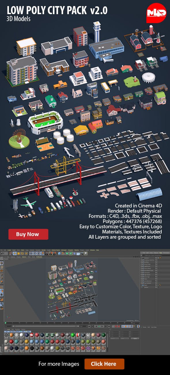 Low Poly City Pack v2.0 - 3DOcean Item for Sale