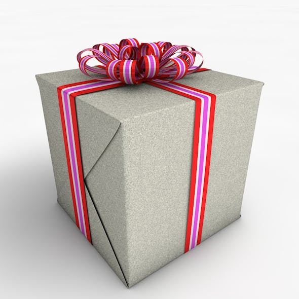 Gift Box Cube Low Poly Model