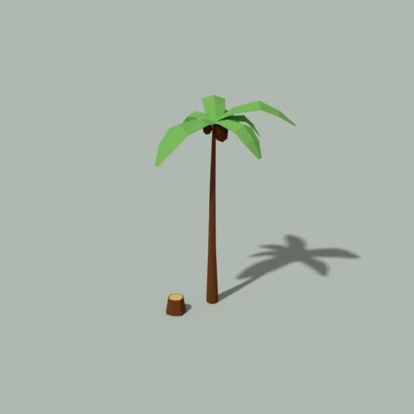 Low Poly Palm Tree and Trunk