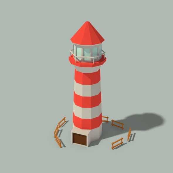 Low Poly Lighthouse and Wooden Fences