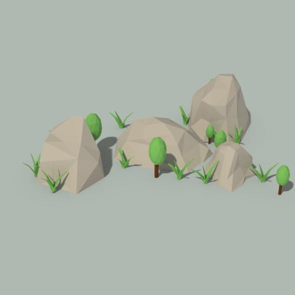 Low Poly Rocks and Plants