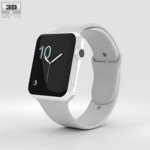 Apple Watch Edition Series 2 42mm White Ceramic Case Cloud Sport Band - 3DOcean Item for Sale
