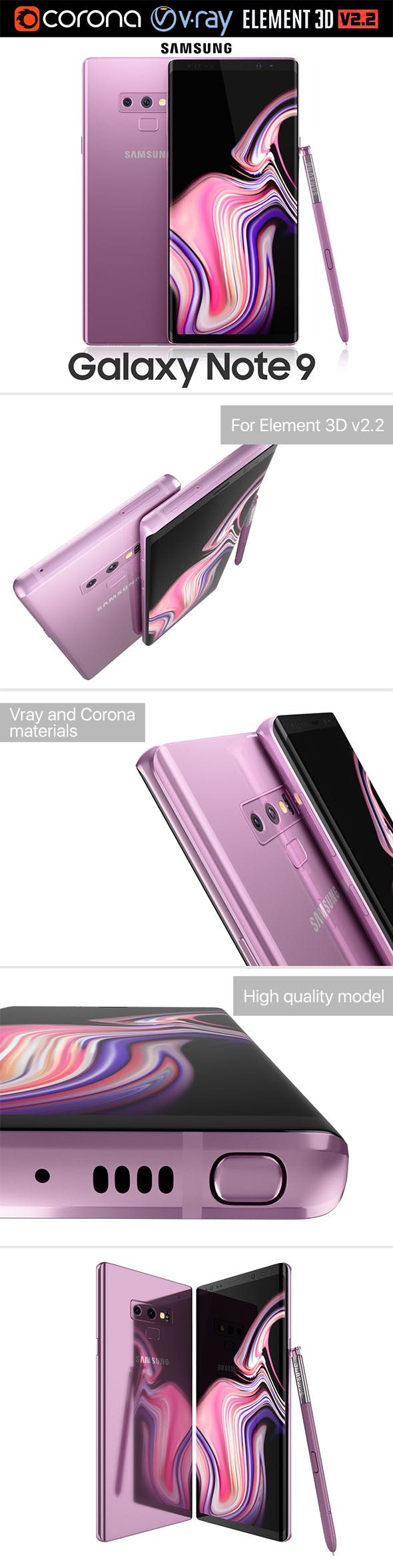 Samsung GALAXY Note 9 Lavender Purple - 3DOcean Item for Sale