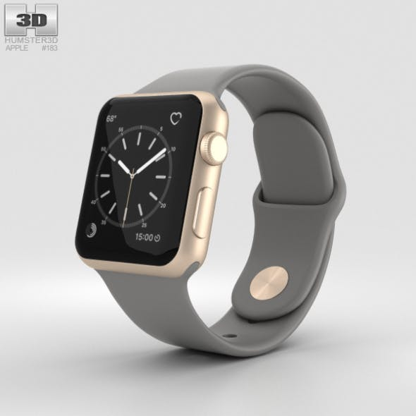 Apple Watch Series 2 38mm Gold Aluminum Case Concrete Sport Band - 3DOcean Item for Sale