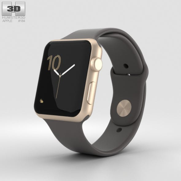 Apple Watch Series 2 42mm Gold Aluminum Case Cocoa Sport Band - 3DOcean Item for Sale