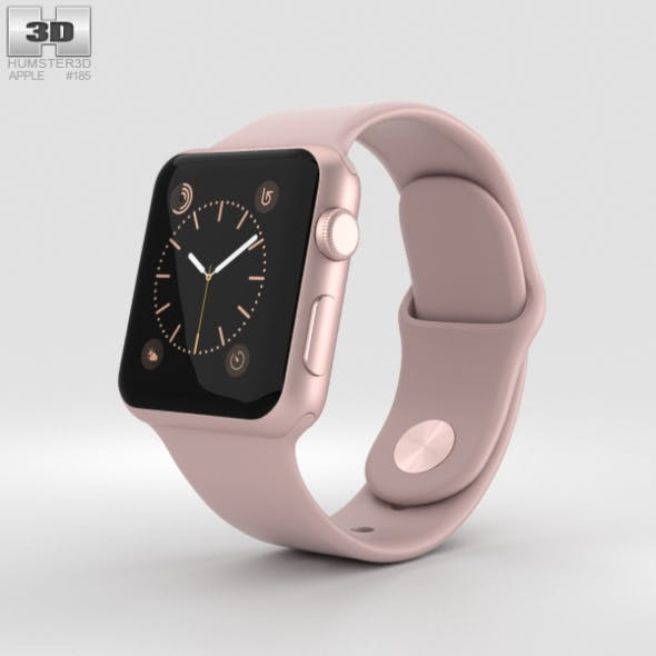 Apple Watch Series 2 38mm Rose Gold Aluminum Case Pink Sand Sport Band - 3DOcean Item for Sale