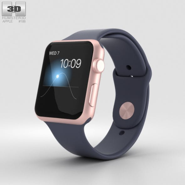Apple Watch Series 2 42mm Rose Gold Aluminum Case Midnight Blue Sport Band - 3DOcean Item for Sale