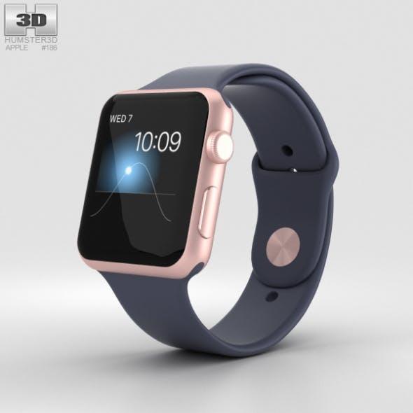 Apple Watch Series 2 42mm Rose Gold Aluminum Case Midnight Blue Sport Band
