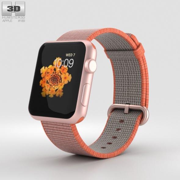 Apple Watch Series 2 42mm Rose Gold Aluminum Case Space Orange Woven Nylon - 3DOcean Item for Sale