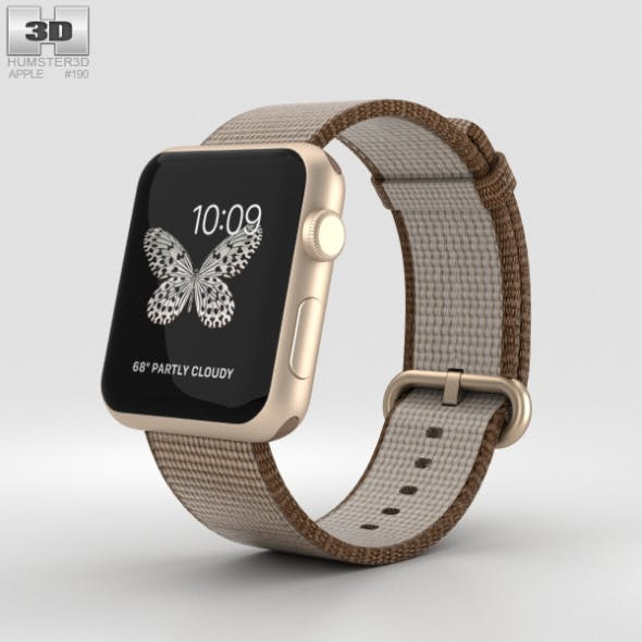 Apple Watch Series 2 42mm Gold Aluminum Case Toasted Coffee/Caramel Woven Nylon - 3DOcean Item for Sale