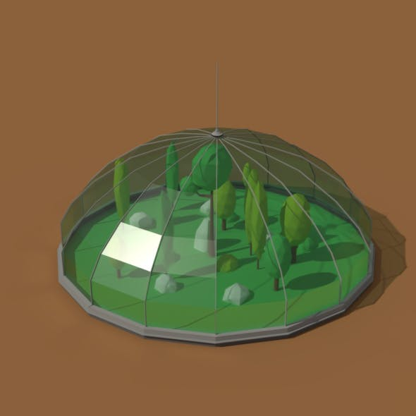 Low Poly Scifi Greenhouse - 3DOcean Item for Sale