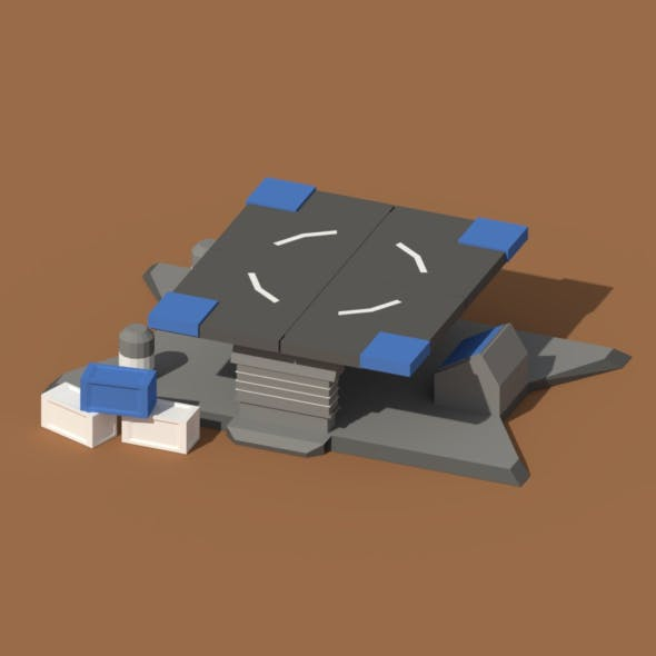 Low Poly Scifi Loading Pad - 3DOcean Item for Sale