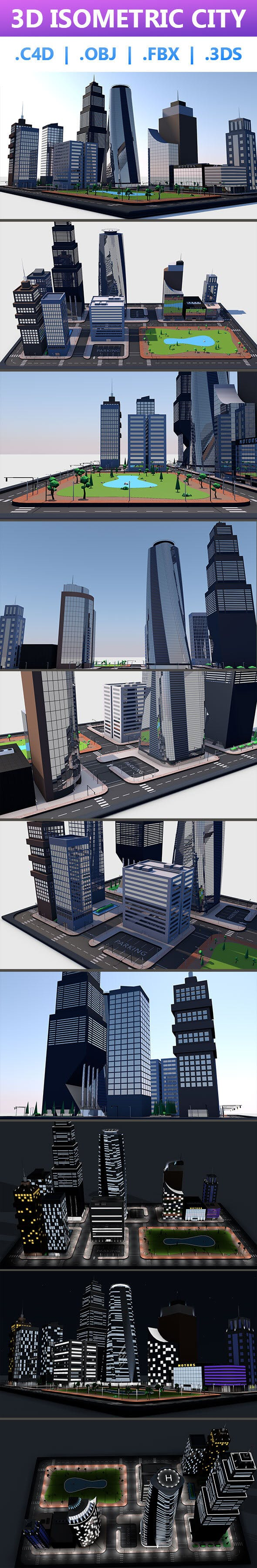 3D Isometric City - 3DOcean Item for Sale