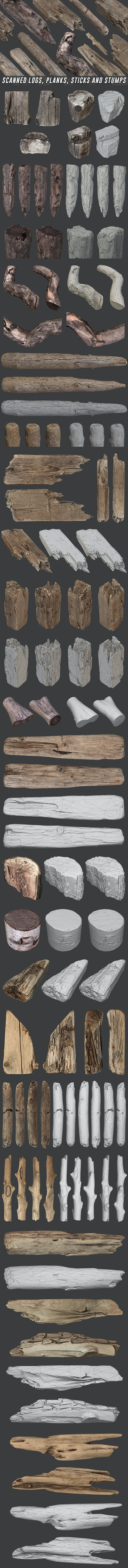 Scanned Logs, Planks, Sticks and Stumps - 3DOcean Item for Sale
