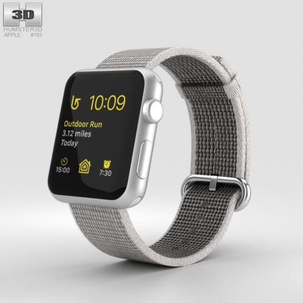 Apple Watch Series 2 42mm Silver Aluminum Case Pearl Woven Nylon