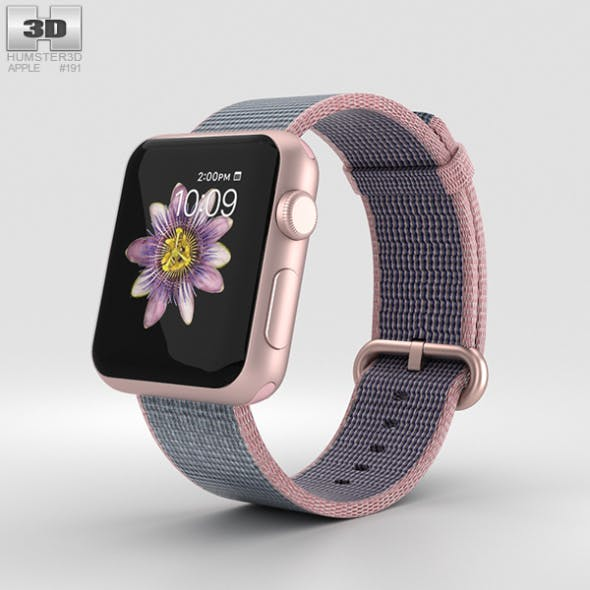 Apple Watch Series 2 38mm Rose Gold Aluminum Case Pink Blue Woven Nylon - 3DOcean Item for Sale