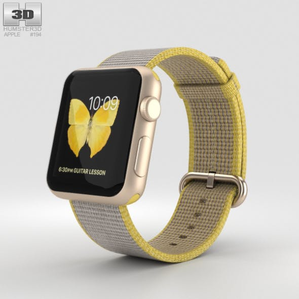 Apple Watch Series 2 38mm Gold Aluminum Case Yellow Light Gray Woven Nylon - 3DOcean Item for Sale