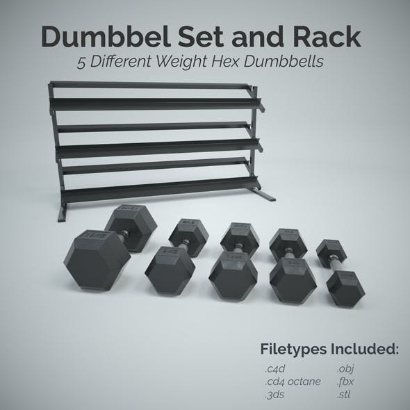 Hex Dumbbell Set and Rack - 3DOcean Item for Sale