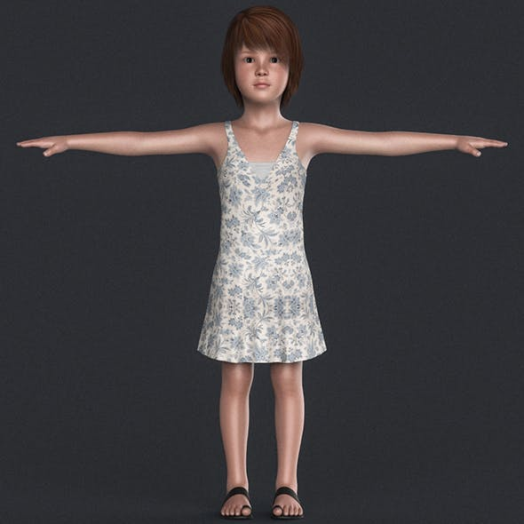 Realistic Beautiful Girl Child - 3DOcean Item for Sale