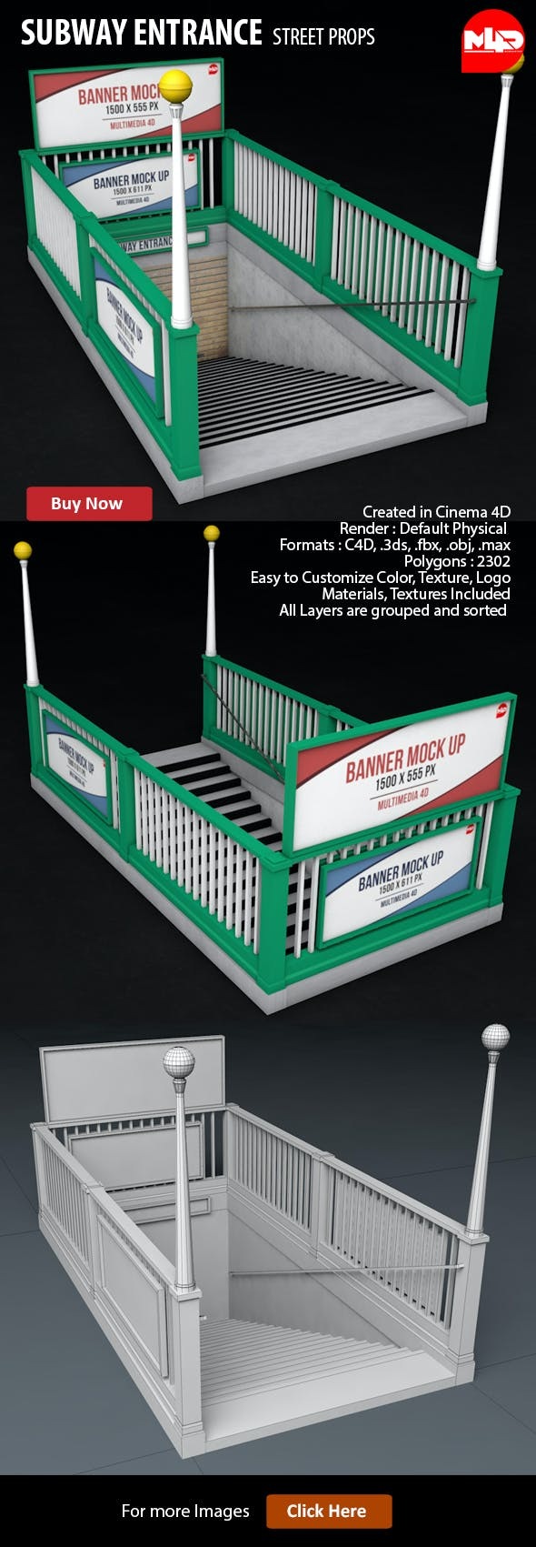 Subway Entrance - 3DOcean Item for Sale