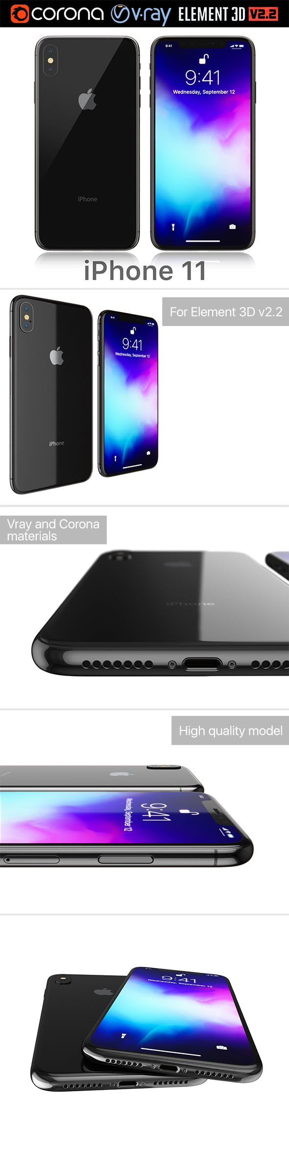 Apple iPhone 11 black - 3DOcean Item for Sale
