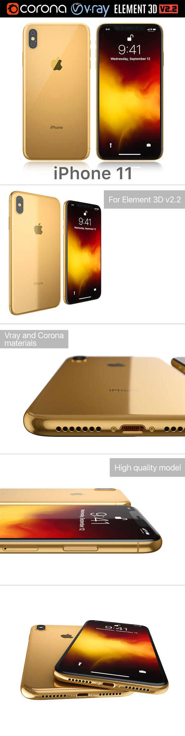 Apple iPhone 11 gold - 3DOcean Item for Sale