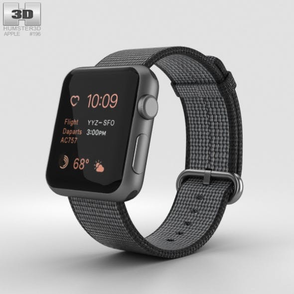 Apple Watch Series 2 38mm Space Gray Aluminum Case Black Woven Nylon