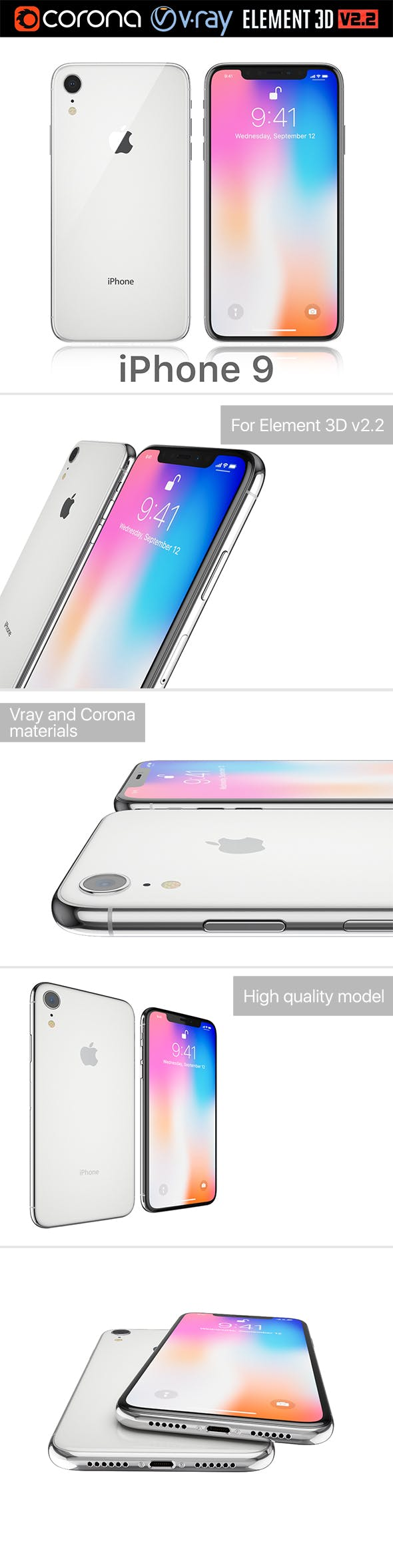 Apple iPhone 9 white - 3DOcean Item for Sale