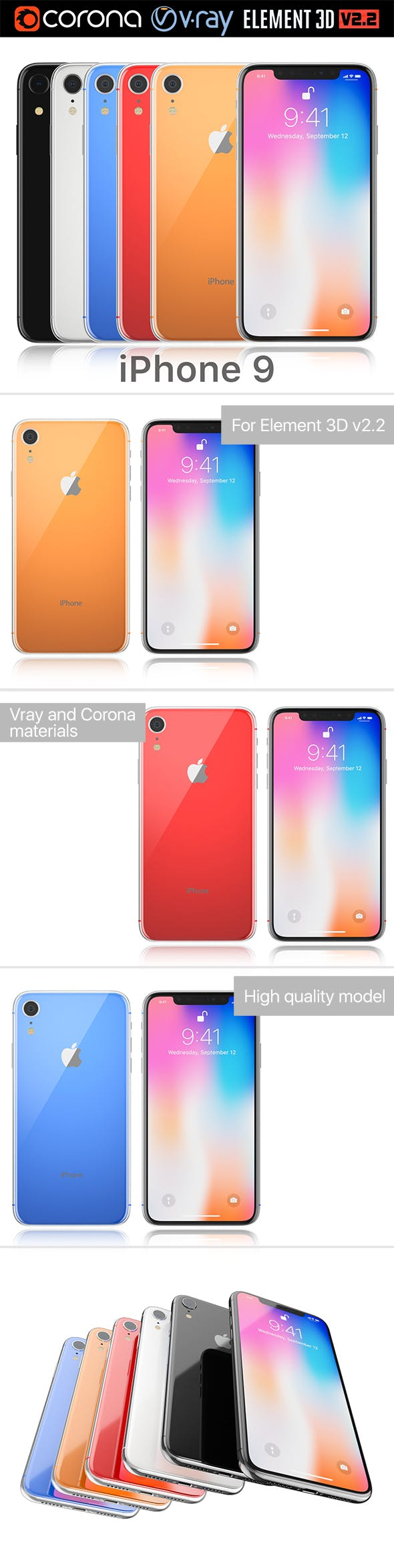 Apple iPhone 9 all colors - 3DOcean Item for Sale