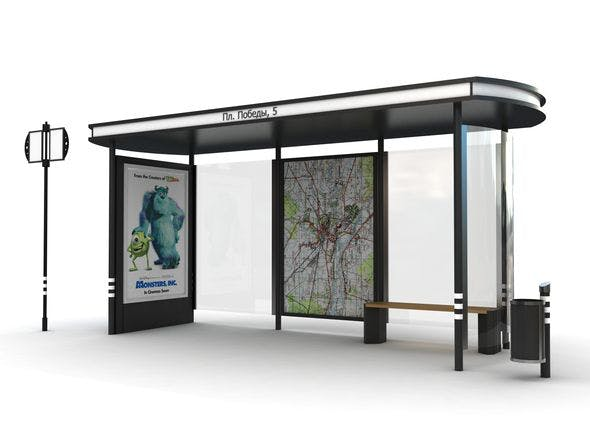 """Bus stop """"A"""", Station """"A"""", Street furniture, 3D - 3DOcean Item for Sale"""