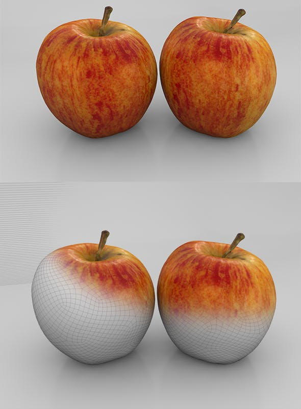 Apple Red Green - Photorealistic - 3DOcean Item for Sale