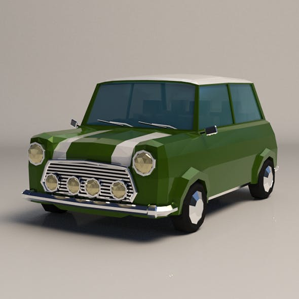 Low-Poly Cartoon Small City Car - 3DOcean Item for Sale