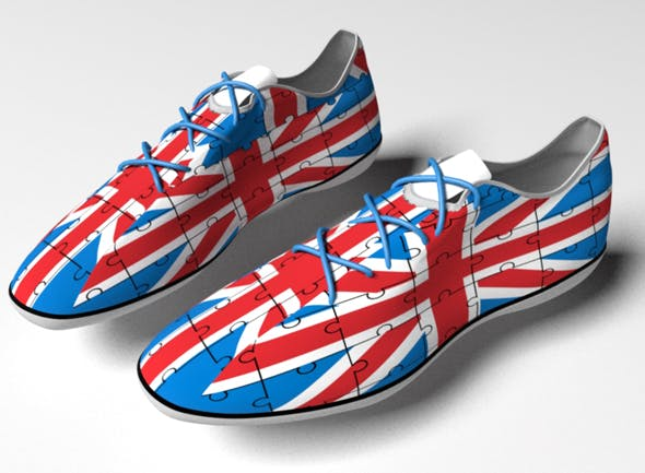 sport sneakers with Great Britain flag - 3DOcean Item for Sale