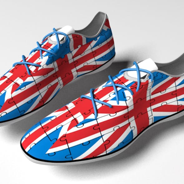 sport sneakers with Great Britain flag