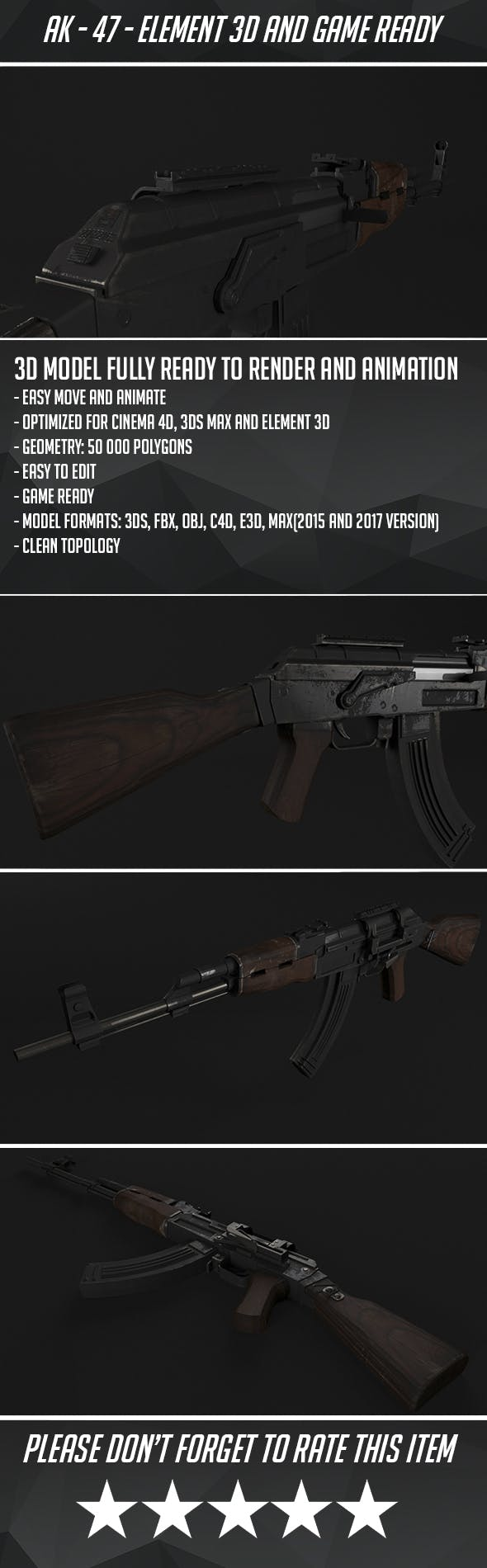 AK - 47 Assault Rifle - Game Ready - 3DOcean Item for Sale