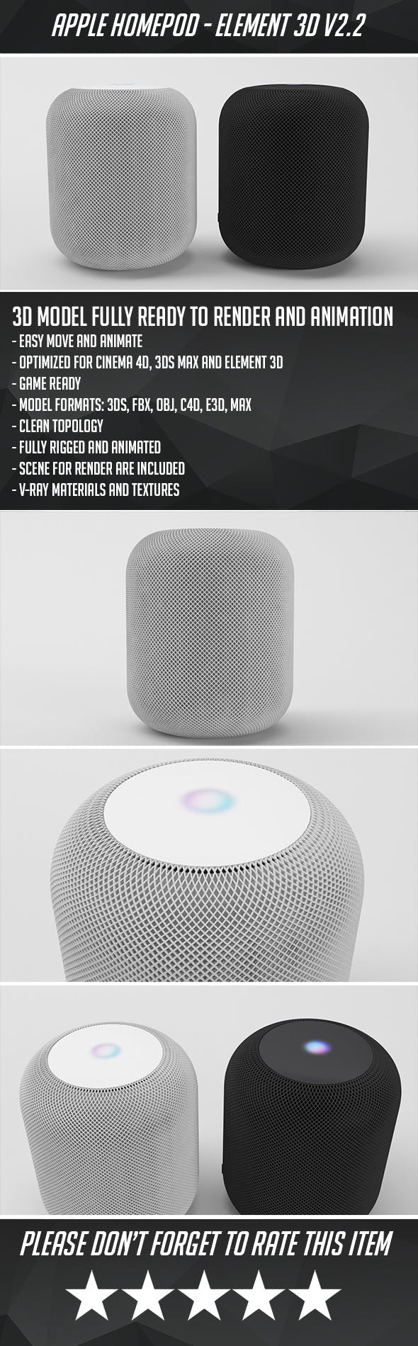 Apple Homepod - Element 3D - 3DOcean Item for Sale